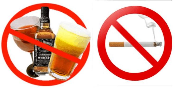 Đồ uống có cồn, rượu, bia và chất kích thích như thuốc lá, cà phê, nước ngọt có gas. 1